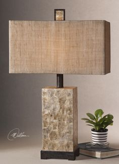 ntiqued Mother of Pearl shell with rustic dark bronze details and matching finial. The rectangle box shade is burlap textile with natural slubbing.  Designer:Billy Moon Wattage:100W Number of Bulbs:1 Dimensions:29 H Shade 18 W X 9 D (in) Weight (lbs):12 Ship Via UPS:Yes