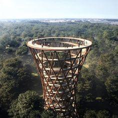Spiraling Treetop Walkway, Denmark [880x880] : DesignPorn
