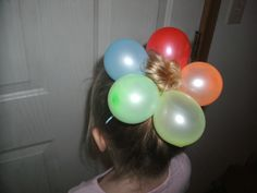 Crazy hair day! Rainbow balloon flower bun <3
