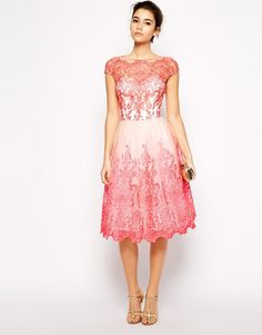 Image 4 of Chi Chi London Premium Embroidered Lace Prom Dress with Bardot Neck