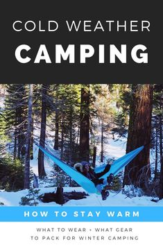 Winter camping tips with info on what gear you must bring on any cold weather camping trips. Camping Hammock Tent, Backyard Hammock, Hammocks, Camping Needs, Camping Life, Camping Hacks, Winter Camping Gear, Cold Weather Camping, Hiking Gear