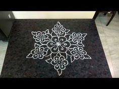Poo Kolam with 7×4 interlaced dots - YouTube