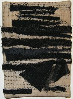 "Carol Lee Shanks: Grid (2011) Fiber: stitched cloth remains onto hemp, 8"" x 10"""