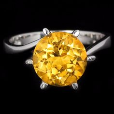 3.3CT Portuguese Cut Yellow Citrine Engagement Promise Wedding  Birthday Ring Size 8