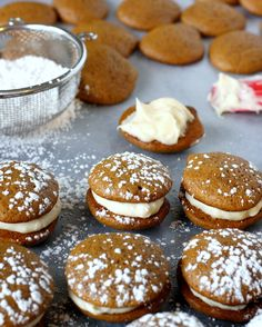 Cream cheese frosting and buttermilk in the batter make these Gingerbread Whoopie Pies dairy delicious! From @Megan Gundy / What Megan's Making