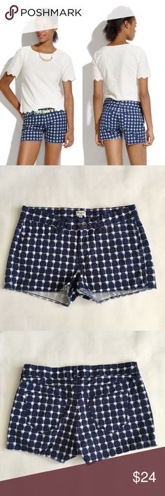 """Madewell Denim Cutoff Shorts in Graphic Grid Meet the perfect shorts. We left the hems unfinished and made the denim supersoft, so they look like they've seen a dozen summer adventures—and are ready for more. True to size, fixed waistband. 2"""" inseam. Cotton. Machine wash. Worn and washed twice - no flaws - excellent condition. Madewell Shorts"""