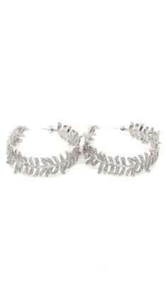 by CC Skye  Luxe Pave Feather Hoops - Silver