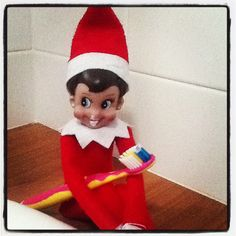 Elf on the Shelf ideas - caught cleaning her teeth!