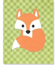 Fox Print Woodland Nursery Art Gray and Orange Nursery Print Forest Gender Neutral 8 x 10 or 11 x 14 Print Cute Sweet by SweetPeaNurseryArt on Etsy