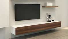 plasma tv mounted onto veneer board modern - Google Search
