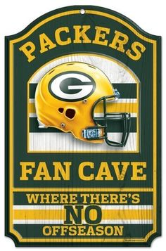 "Green Bay Packers Wood Sign - 11""""x17"""" Fan Cave Design"