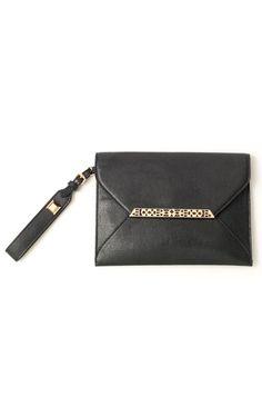 Stella & Dot Midnight Black Bracelet Clutch | Black & Gold Clutch Bag Wristlet