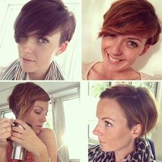red pixie with long side bangs