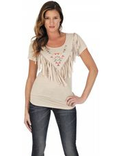 A modern nod to the past, this ladies Wrangler  knit top features an Aztec design and fringe on the front.  This top offers a fresh take on Western tradition.