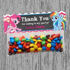 Bolsita con M&Ms personalizada para fiesta de My Little Pony