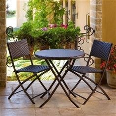 Outdoor Brown Classic Stained Steel Bistro Set Cheap Patio Furniture Sets for Alluring Outdoor Nuance Small Patio Furniture, Resin Furniture, Patio Furniture Sets, Garden Furniture, Furniture Ideas, Furniture Design, Furniture Layout, Wicker Furniture, Furniture Online