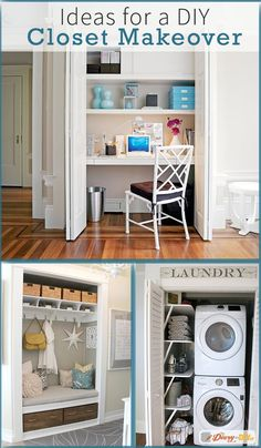 Have an empty, unused coat closet? Transform it! The options are truly endless - whether it's an office or a laundry room, you can DIY it. Converted Closet, Flat Shapes, Amazing Spaces, Kitchenette, Closet Organization, Home Improvement Projects, Home And Family, New Homes, Closet Makeovers