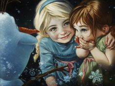 """Wow! BEAUTIFUL ♡ Never Let It Go Elsa, Anna and Olaf from Disney's """"Frozen"""" Copyright © 2015 Fine Art by Heather Theurer"""