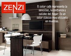 El color café representa la sencillez, la confianza y calidez del hogar. Es un color clásico muy utilizado en muebles. Ver ambientes en www.zenzi.com.co