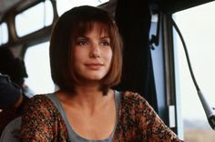 """Sandra Bullock, driving the bus in the surprise 1994 hit movie, """"Speed."""""""