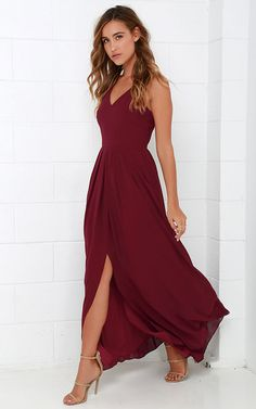 US$ –98.19 V-Neck Chiffon Bridesmaid Dress with Slit. www.doriswedding..... Find the best bridesmaid dresses at DorisWedding. We have all styles & colors, such as purple, gold, red & lace, country and vintage. #DorisWedding.com