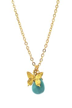 Turquoise Teardrop Butterfly Necklace