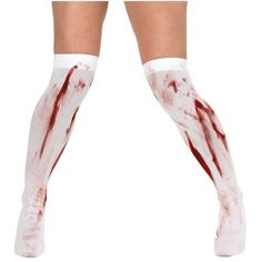 Blood Stained Knee High Fancy Dress Halloween Socks White ($2.84) ❤ liked on Polyvore featuring intimates, hosiery, socks, white knee high socks, fancy socks, knee high socks, white socks and white hosiery