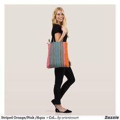Shop Striped Orange/Pink /Aqua > Colourful Tote Bag created by orientcourt. Orange Pink, Edge Design, Girls Shopping, Evening Bags, Aqua, Tote Bag, Stylish, Cotton, Clothes