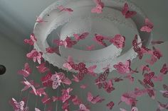 Paper Lace Chandelier Monarch Butterfly Mobile - pink - Made to order