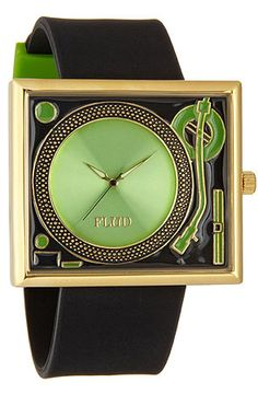 The Turntable Watch in Black & Green