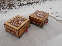 Шкатулки маркетри для ювелирных украшений. Карельская береза, бирманский тик и др.