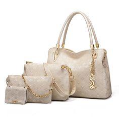 a30ff49585 4pcs Women s Leather Handbags With Top Handle Shoulder Bag Tote Bag  Crossbody Bag Wallet Tote Handbags