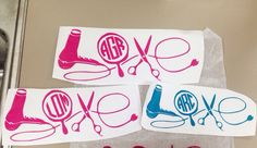 Cosmetology hairstylist beautician love monogram decal by iSAAWit on Etsy… Cricut Monogram, Monogram Decal, Vinyl Crafts, Vinyl Projects, Rustic Salon, Yeti Decals, Car Decals, Hairstylist Quotes, Silhouette Curio