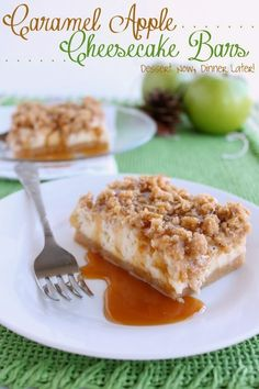 Caramel Apple Cheesecake Bars - A brown sugar shortbread crust, smooth cheesecake layer, lightly tart apples, with a crunchy cinnamon streusel crust all drizzled with caramel. | DessertNowDinnerLater.com