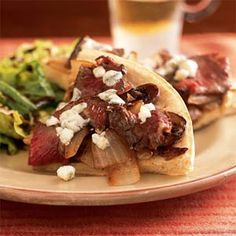 Steak and Blue Cheese Pizza | MyRecipes.com