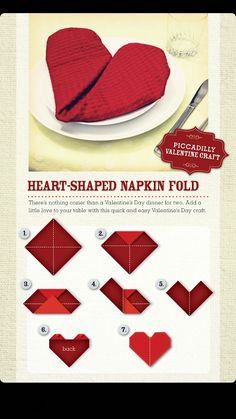 When making a Valentine table, fold your napkin into a heart. Valentine Home Dec.When making a Valentine table, fold your napkin into a heart. Valentine Home Decor Ideas on Frugal Coupon Living. Valentines Day Dinner, Valentine Special, Valentines Day Decorations, Valentine Day Crafts, Valentine Table Decor, Valentines Ideas For Boyfriend, Valentines Day Tablescapes, Romantic Valentines Day Ideas, Valentines Hearts