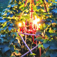 What if we used small solar lights in the chandelier we are planning as the top of the living teepee?