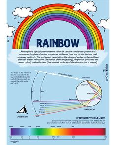 The Rainbow!! 🌈✨ How does a rainbow form? What are its colors?👉scroll for see it in spanish and italian . . 🌈 Follow us to see what's… Infographics, Physics, Spanish, Positivity, Rainbow, Colors, Rain Bow, Rainbows, Info Graphics