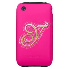 Gold & Diamonds - Elegant and Pink iPhone Case with Your Initial ''Y''.