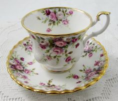 "Royal Albert ""Cottage Garden"" Tea Cup and Saucer, Vintage Bone China"