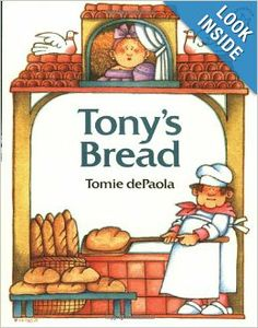 "Another lovely food-centered Tomie dePaola story which would be a perfect introduction to bread baking. My preschooler's love playing ""baker"" with our homemade playdough and a few tools (recycled applesauce cups, rolling pins, butter knives, and cookie cutters)"