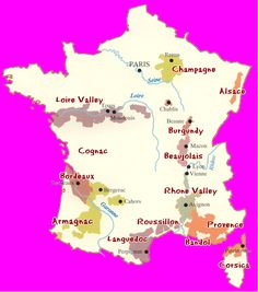 A wine map of France. Decanter Tours currently offers tours in the Loire Valley, Bordeaux, Languedoc-Rouissillon, Burgundy, and Champagne.