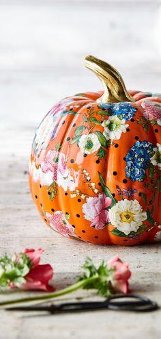 Mackenzie-Childs Flower Market Pumpkin Pumpkin hand painted with Flower Market design. Fall Halloween, Halloween Crafts, Halloween Decorations, Halloween Pumpkins, Rustic Fall Decor, Happy Fall Y'all, Flower Market, Fall Family, Painted Pumpkins