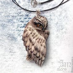 Polymer Clay Owl, Polymer Clay Kunst, Polymer Clay Animals, Polymer Clay Projects, Polymer Clay Creations, Clay Crafts, Polymer Clay Jewelry, Bone Carving, Metal Clay