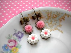 Pink Earrings Flower Earrings Dangle Flower Cabochon Earrings. $20.00, via Etsy. I am getting these for the wedding!! :]