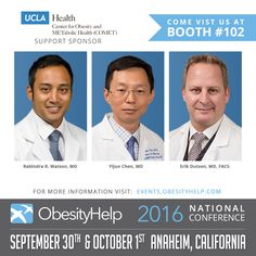 We are pleased to announce UCLA Health as a Support Sponsor for the #OH2016 ObesityHelp National Conference! Stop by booth 102 to meet the UCLA Center for Obesity and METabolic Health (COMET)!