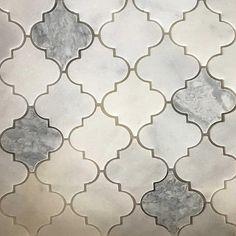 Lantern Arabesque Mosaic Tile White Light Grey Marble Polished