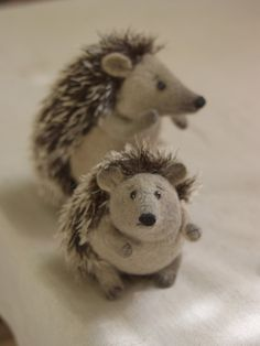 two felted hedgehogs