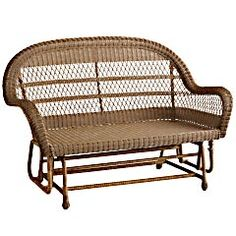Pier 1 Santa Barbara Glider Settee - Light Brown.  Very cool!  Don't see these much these days.  Disposed of an old metal glider that used to be at my home when it was my great grandparents.  I was here a long time.