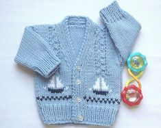 Rebeca niño bebé - 0 a 6 meses - bebé suéter de punto con veleros - regalo de bebé nuevo - tejidos de bebé - regalos de bebé Cardigan Bebe, Baby Boy Cardigan, Baby Girl Sweaters, Knitted Baby Clothes, Hand Knitted Sweaters, Knit Cardigan, Knitting Patterns Boys, Baby Boy Knitting, Baby Patterns